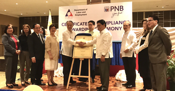 DOLE certifies PNB as first-ever PHL bank to be labor-compliant
